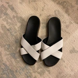M.Gemi White Flat Slide-On Sandals Size 39
